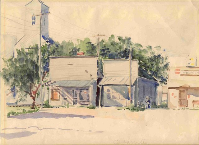 [Painting: Home on West Court St., Nellie Smith Chubb watercolor, Meadowlark Gallery Art, Smith Center, KS]