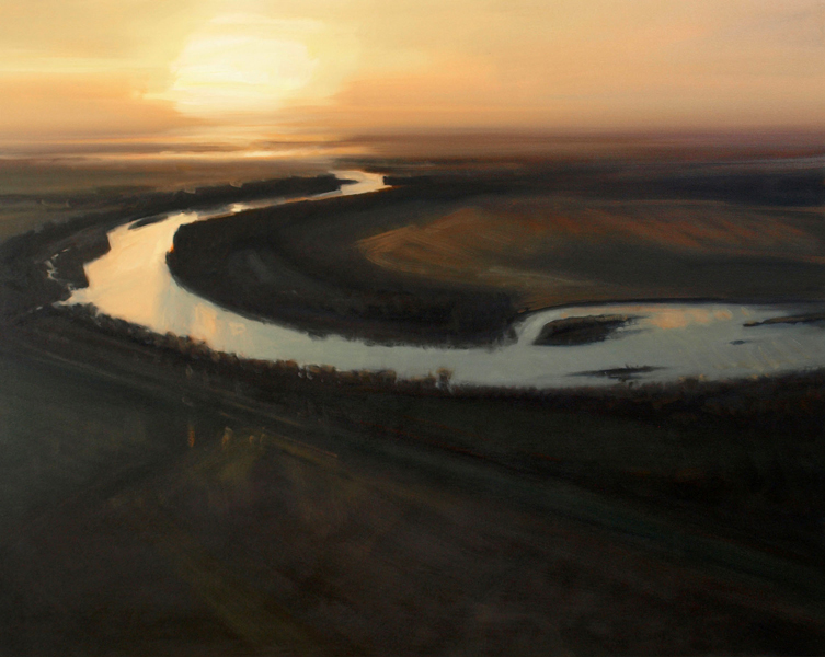 [painting: Kaw Near Lindwood by Lisa Grossman; copyright 2008. Used with permission, Strecker-Nelson Gallery, Manhattan, KS: All rights reserved.]