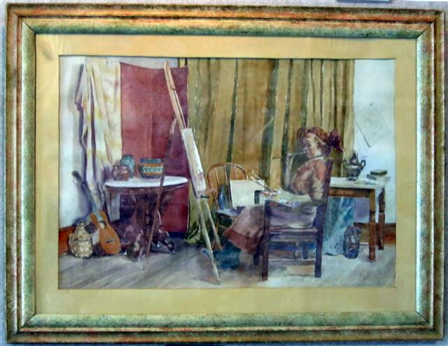 [Painting: In the Studio, K.U., Nellie Smith Chubb watercolor, Meadowlark Gallery Art]