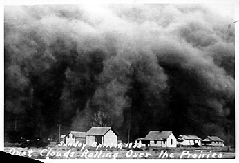 [photograph: Black Sunday, SW Kansas Dust Bowl, April 14, 1935. All rights reserved, Ford County Historical Society, Dodge City, KS]