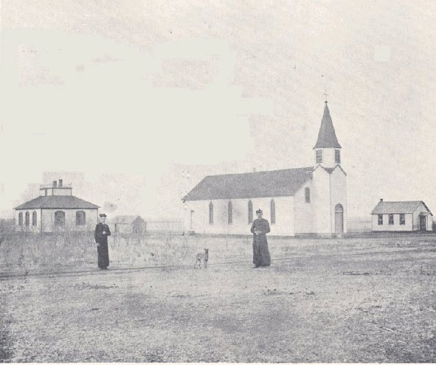 [Photograph: The second Immaculate Heart of Mary Parish, Windthorst, Kansas, in circa 1892 photograph.]