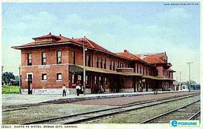 [photo postcard: Santa Fe Depot, Dodge City, KS  circa 1900.]