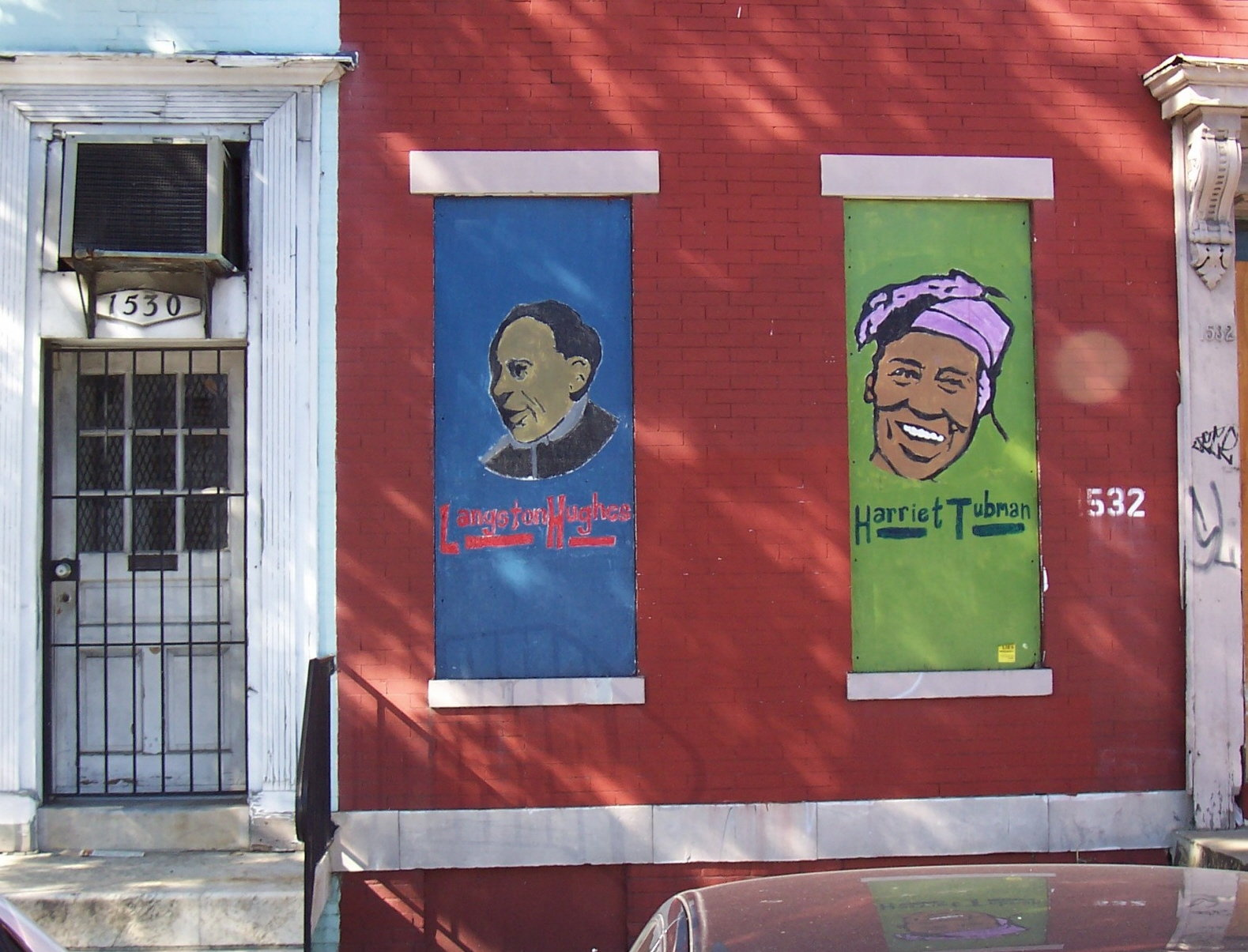[Langston Hughes and Harriet Tubman portraits, P St. NW, Washington D.C.]