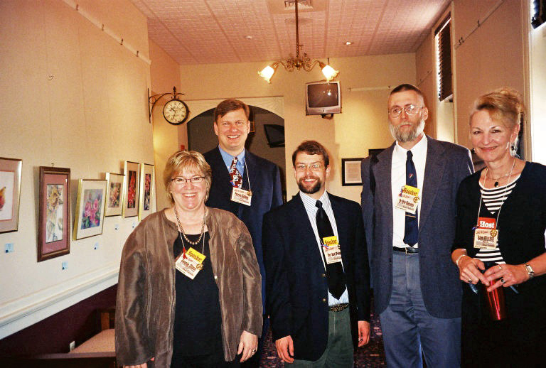 Kansas Preservation 2007: (from left) Jennie Chinn, KSHS; Patrick Zollner, Kansas State Preservation Officier, KSHS; Dr. Jay Price, Public History Program Director, Wichita State University; Keynote speaker Dr. Eric Clements, associate professor of history and assistant museum director, Southeast Missouri State University; Darleen Clifton-Smith, City of Dodge City Historic Preservation Committee & DC High School Art Teacher. Photographed at Santa Fe Depot.