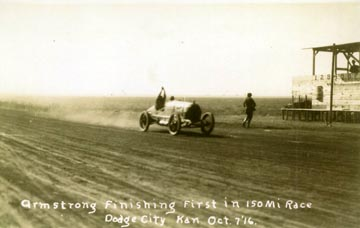 [Photo: AAA auto race, Armstrong finishing first, Dodge City, Kansas, Oct. 7, 1916.]