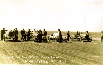 [Photo: Line-up for the start, AAA 150-mile auto race, Dodge City, Kansas, Oct. 7, 1916.]