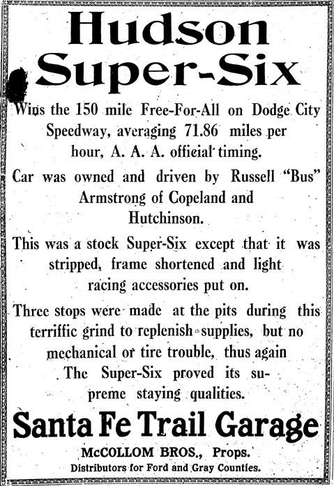 [Photo: Santa Fe Trail Garage Hudson advertisement, Dodge City, Kansas, Oct. 7, 1916.]