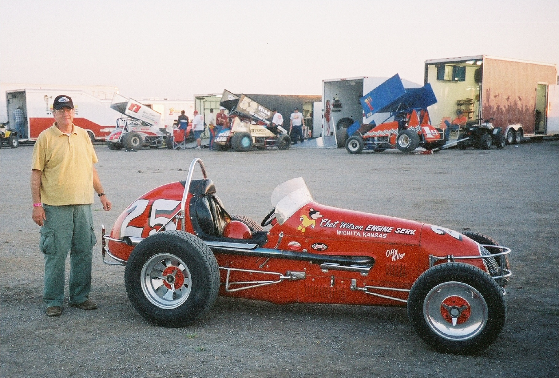[photograph: Offy Killer, No. 25 Sprint Car Jetmore Motorplex,  Evert Issac Memorial Vintage Car Race, July 30, 2005, Jetmore, KS, with George Laughead.]