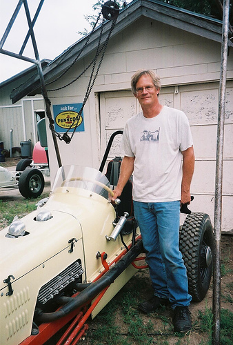 [photograph: Roger Burnett with No. 5 race car, built by him in 1986 on Model-T frame, Dodge City, KS. c. 2007 G. Laughead]